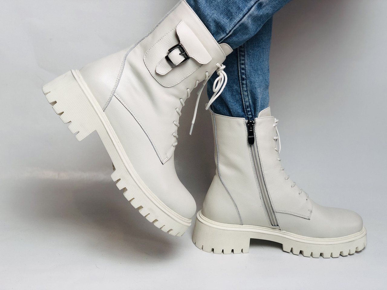 Женские весенние ботинки из натуральной кожи молочного цвета на низкой подошве. Р 36.37.38.39.40