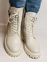 Женские весенние ботинки из натуральной кожи молочного цвета на низкой подошве. Р 36.37.38.39.40, фото 5