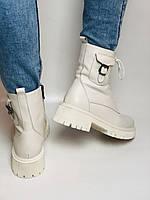 Женские весенние ботинки из натуральной кожи молочного цвета на низкой подошве. Р 36.37.38.39.40, фото 6