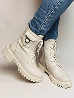 Женские весенние ботинки из натуральной кожи молочного цвета на низкой подошве. Р 36.37.38.39.40, фото 2