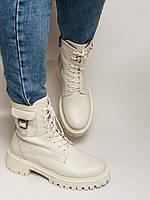 Женские весенние ботинки из натуральной кожи молочного цвета на низкой подошве. Р 36.37.38.39.40, фото 4
