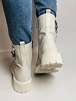Женские весенние ботинки из натуральной кожи молочного цвета на низкой подошве. Р 36.37.38.39.40, фото 7