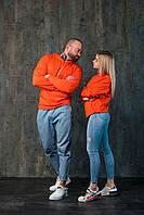 Худи унисекс WOW Однотонная спортивная кофта с капюшоном хлопок (Размер S) Оранжевый