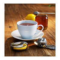 """IKEA """"ВЭРДЕРА"""" Чашка чайная с блюдцем, белый"""