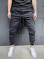 Весенние мужские джинсы(джоггеры) черные на резинке с карманами, джинсовые брюки карго зауженные с манжетами