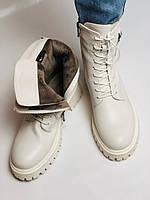 Женские весенние ботинки из натуральной кожи молочного цвета на низкой подошве. Р 36.37.38.39.40, фото 9