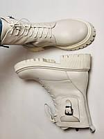 Женские весенние ботинки из натуральной кожи молочного цвета на низкой подошве. Р 36.37.38.39.40, фото 10