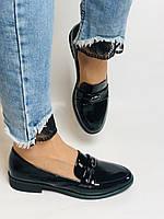 Molka. Жіночі туфлі-лофери. Чорні з натуральної лакованої шкіри. Розмір 36,37,38,39,40,41, фото 4