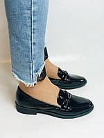 Molka. Жіночі туфлі-лофери. Чорні з натуральної лакованої шкіри. Розмір 36,37,38,39,40,41, фото 3