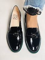 Molka. Жіночі туфлі-лофери. Чорні з натуральної лакованої шкіри. Розмір 36,37,38,39,40,41, фото 6