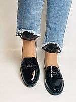 Molka. Жіночі туфлі-лофери. Чорні з натуральної лакованої шкіри. Розмір 36,37,38,39,40,41, фото 7