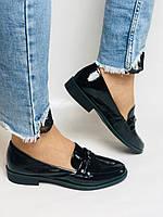 Molka. Жіночі туфлі-лофери. Чорні з натуральної лакованої шкіри. Розмір 36,37,38,39,40,41, фото 10