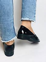 Molka. Жіночі туфлі-лофери. Чорні з натуральної лакованої шкіри. Розмір 36,37,38,39,40,41, фото 9