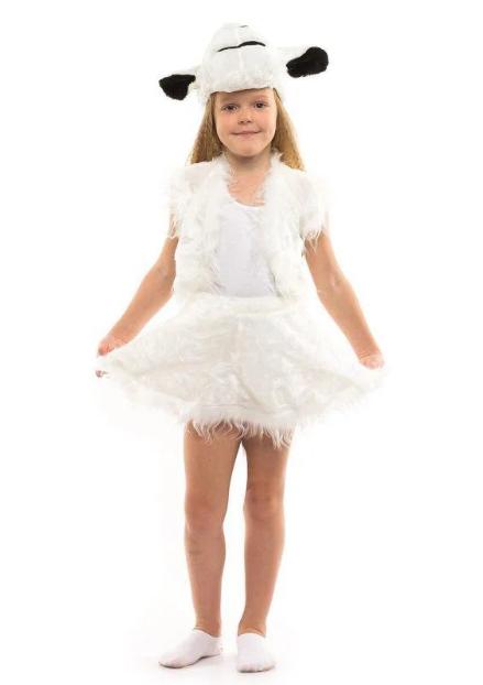 Карнавальный костюм ОВЕЧКА, ОВЦА девочка 3-7 лет, 104-122см, детский маскарадный костюм овечки на новый год