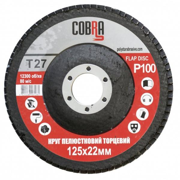 Круг пелюстковий торцевій КЛТ COBRA Т27, 125х22 мм, P100