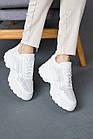 Жіночі кросівки шкіряні літні білі Yuves 3003 Перфоров, фото 2