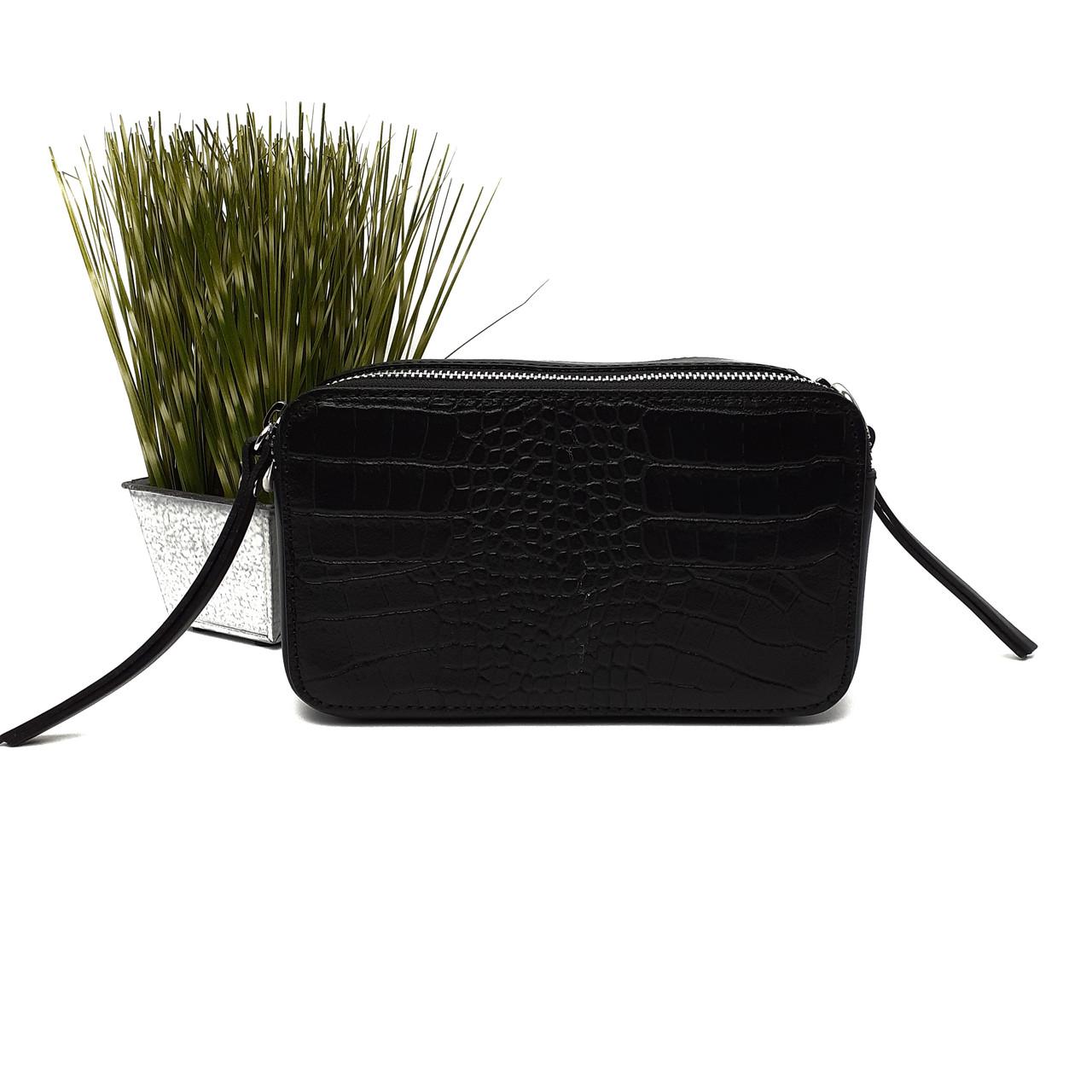 Шкіряна маленька сумка жіноча чорна Арт.4503 V. P. Італія