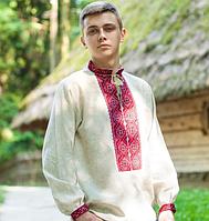 Вышитая рубашка мужская серый лен