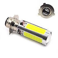 Лампа фары мотоцикла диодная P15D-25-3 - LED-4+1(линза). Лампа фары для скутера. Лампа фары для мопеда