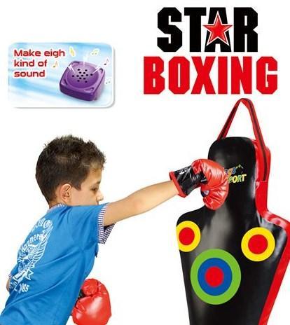Дитяча боксерська груша 2 кг (манекен) і рукавички з звуковими ефектами, 60 см