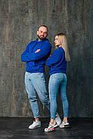 Худи унисекс WOW Однотонная спортивная кофта с капюшоном хлопок (Размер S) Синий
