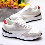 Тільки 36 р! Кросівки жіночі білі з сірими еко-замш + текстиль (сітка), фото 2