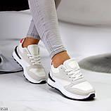 Тільки 36 р! Кросівки жіночі білі з сірими еко-замш + текстиль (сітка), фото 3