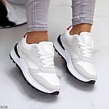 Тільки 36 р! Кросівки жіночі білі з сірими еко-замш + текстиль (сітка), фото 4