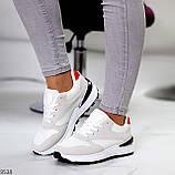 Тільки 36 р! Кросівки жіночі білі з сірими еко-замш + текстиль (сітка), фото 8
