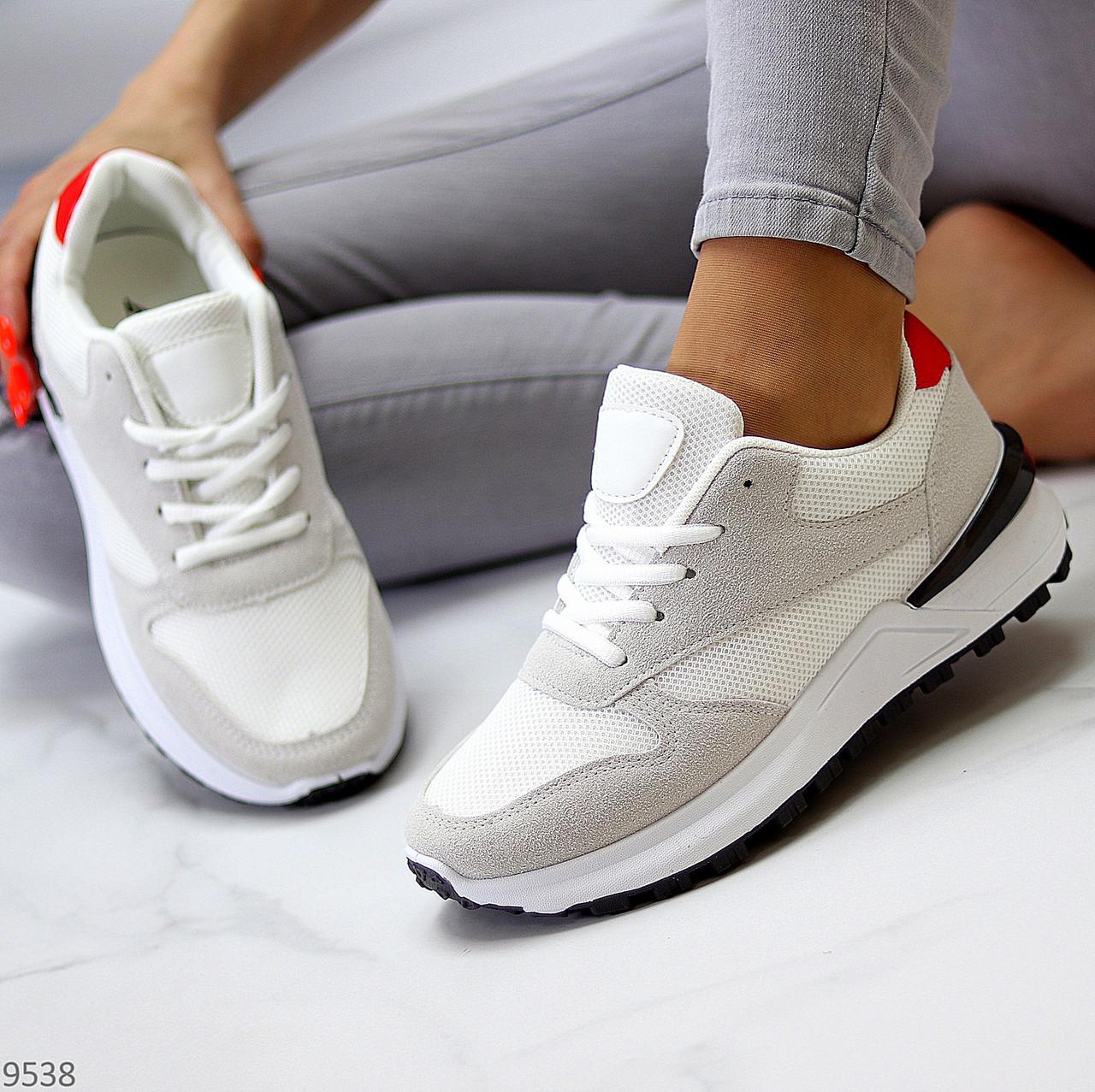Тільки 36 р! Кросівки жіночі білі з сірими еко-замш + текстиль (сітка)