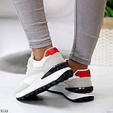 Тільки 36 р! Кросівки жіночі білі з сірими еко-замш + текстиль (сітка), фото 5