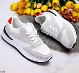 Тільки 36 р! Кросівки жіночі білі з сірими еко-замш + текстиль (сітка), фото 7