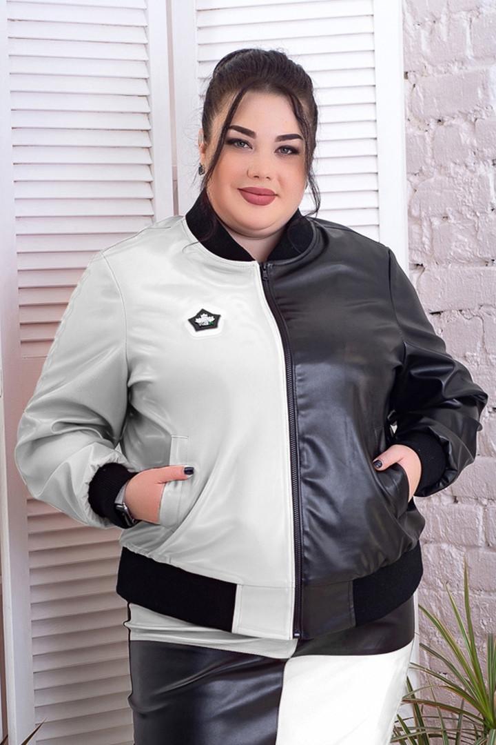 Жіноча куртка-бомбер батал з еко-шкіри біла з чорним