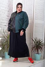 Куртка бомбер женская больших размеров зеленая с черным, фото 3