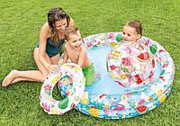 Надувной бассейн для детей круглый с мячом и кругом, Маленькие детские надувные басейны, Intex