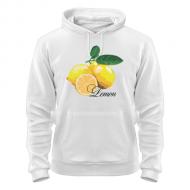 Стильная белая толстовка молодёжная с рисунком  Lemon