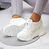 Сникерсы / кроссовки  женские белые эко кожа+ текстиль, фото 5