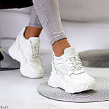 Сникерсы / кроссовки  женские белые эко кожа+ текстиль, фото 6