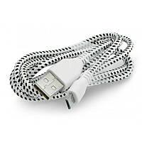Кабель USB 2.0 (AM) - microUSB (B) 1м TRY Wire в матерчатой оплётке белый с чёрным новый гарантия 12мес!