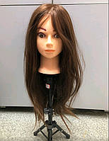 Голова для причесок, плетения, моделирования натуральные волосы темные, манекен для парикмахера, учебная