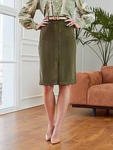 Вельветовая юбка-карандаш длиной миди с разрезом спереди
