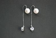 Серьги-протяжки женские 0574 с родиевым покрытием и камнем циркония