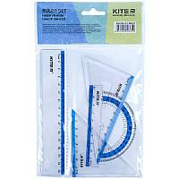 Набір: лінійка 15 см, 2 косинця, транспортир (блакитна смуга) Kite К17-280-07