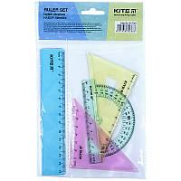 Набір: лінійка 15 см, 2 косинця, транспортир (асортимент кольорів) Kite