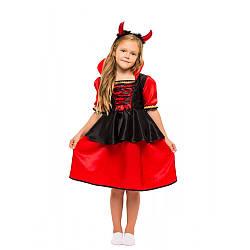 Карнавальный костюм ДЬЯВОЛИЦА, ВАМПИР, ЧЕРТИК для девочки 4,5,6,7,8,9 лет, детский костюм на ХЕЛОУИН