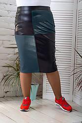 Батального размера юбка карандаш комбинированная модная