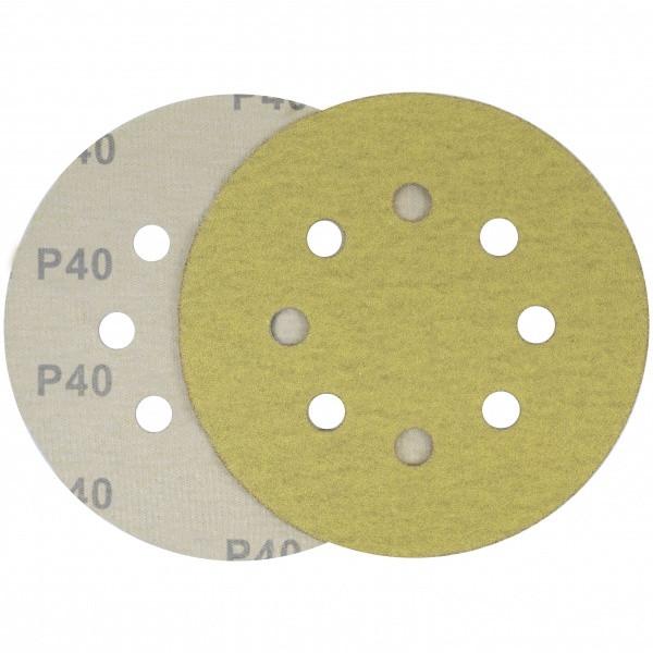 Круг шліфувальний жовтий липучкою Velcro Polystar Abrasive 125 мм, P40