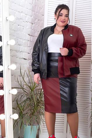 Модная юбка для полных девушек комбинированная батал, фото 2