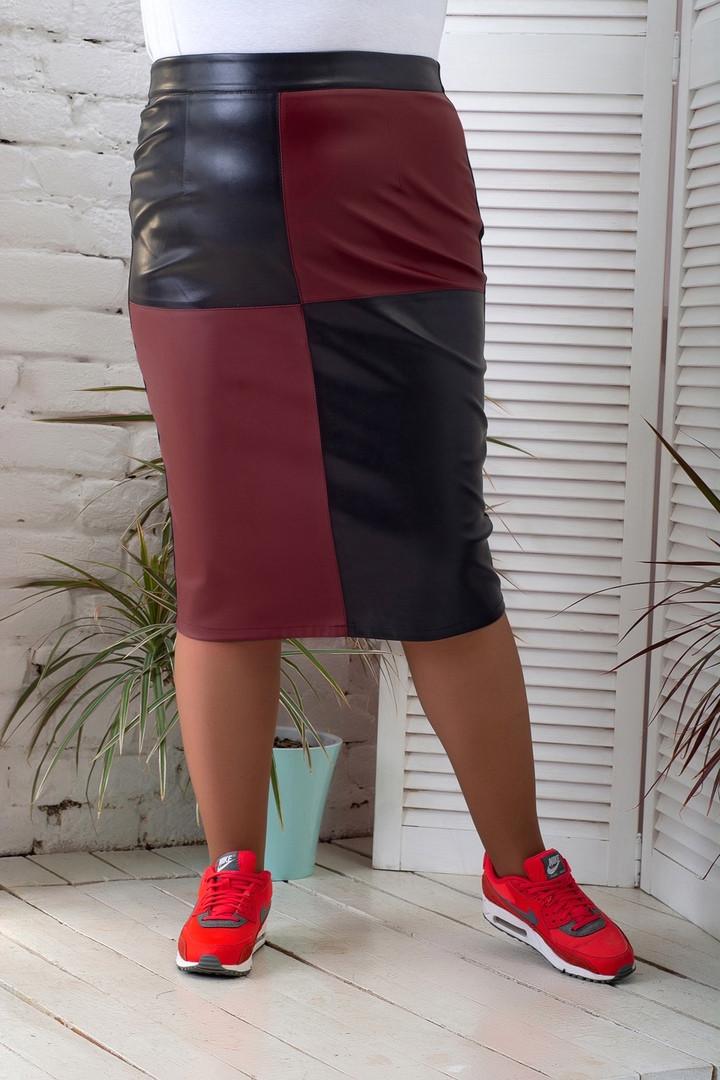 Модна спідниця для повних дівчат комбінована батал