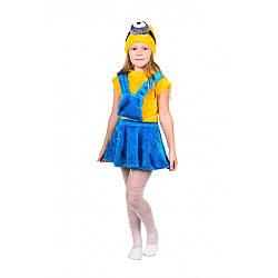 Карнавальный костюм МИНЬОН ДЕВОЧКА на 3,4,5,6,7 лет детский маскарадный костюм МИНЬОНА для девочки